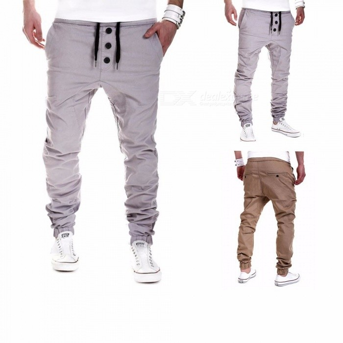 Men's Sports Casual Regular Feet Fitness Buckle Trousers Running Training Elastic Waist Pencil Pants Gray/M