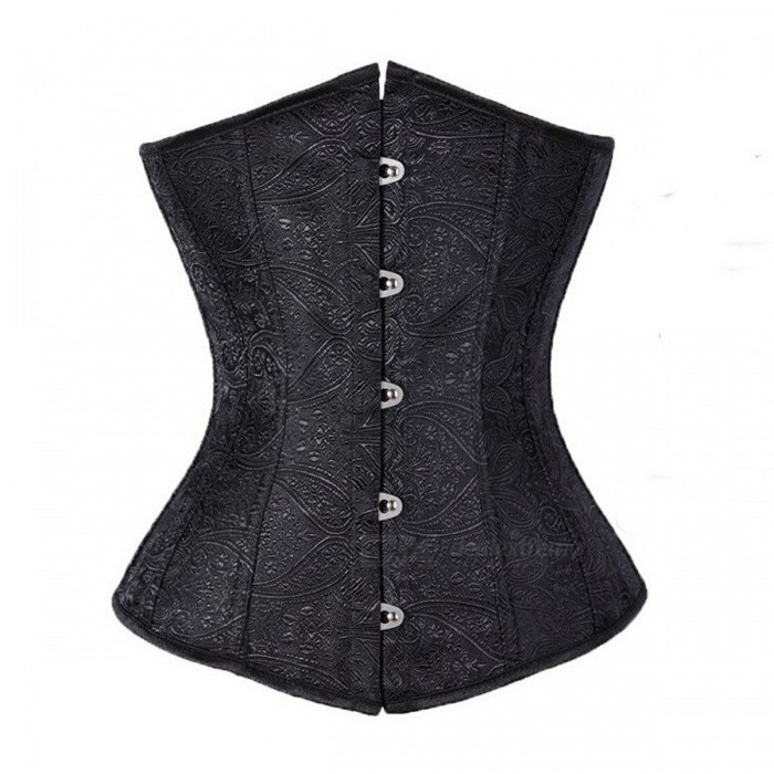Under Bust Jacquard Top Solid Color Corsets Fish Boned Women Bustier Front Busk Closure Korset Summer Corselet Black/S