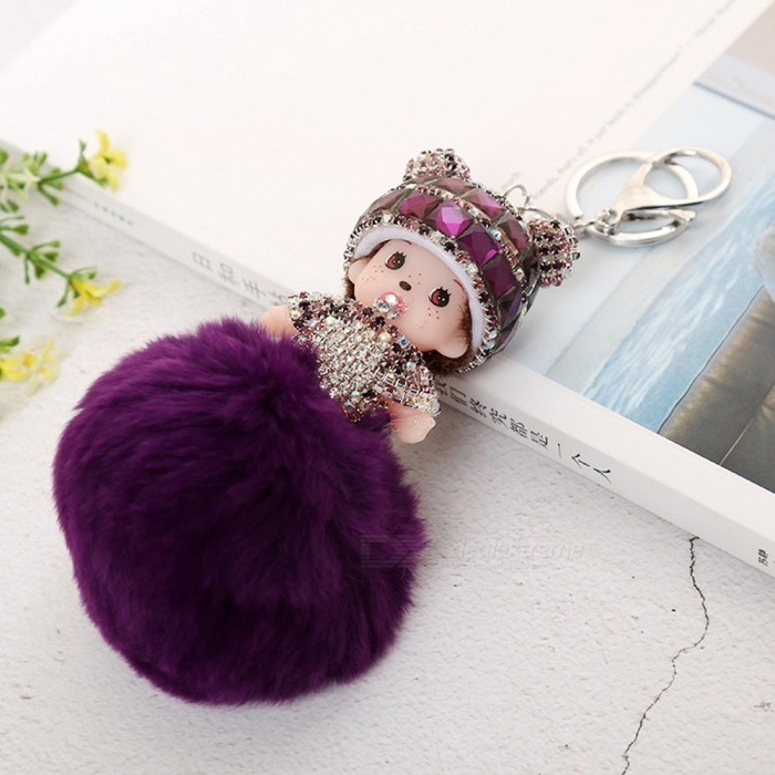 Cute Fake Rabbit Hair Crystal Diamond Keychains Plush Pom Pom Doll Pendant Wallet Jewelry Royal Blue