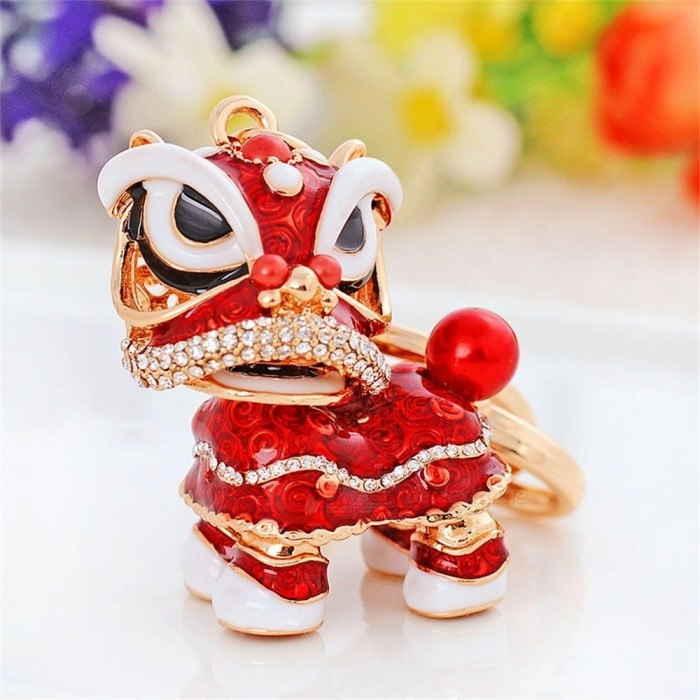 Chinese Festival Rotatable Lion Dance Keychains Crystal Lucky Mascot Charm Key Chain Ring Women Bags Holder Orange