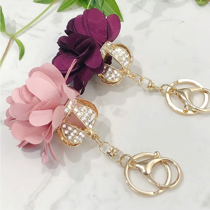 Fashion Camellia Daisy Keychains Crown Bag Pendant Holder Jewelry Crystal Flower Keyring For Women Gift Purple