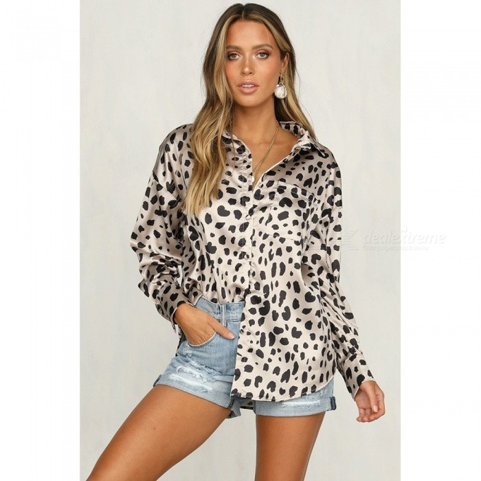 Leopard Pattern Print Fashion Long Sleeve Shirt For Women Casual Loose Turn-down Collar Satin Top White/S