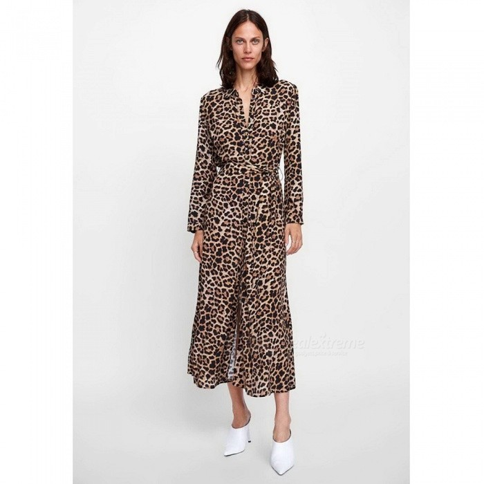 Leopard Pattern Fashion Long Sleeve Dress For Women Casual Turn-Down Collar Buttons Ankle-Length Shirt Dress Leopard/S