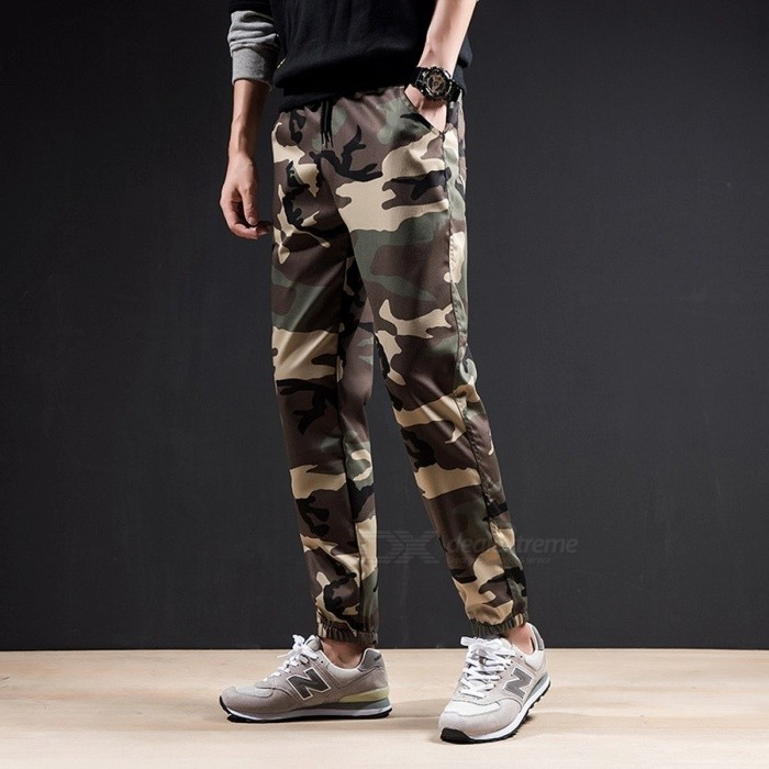 Men\'s Sports Casual Camouflage Feet Fitness Trousers Running Training Elastic Waist Harem Pants Gray/M