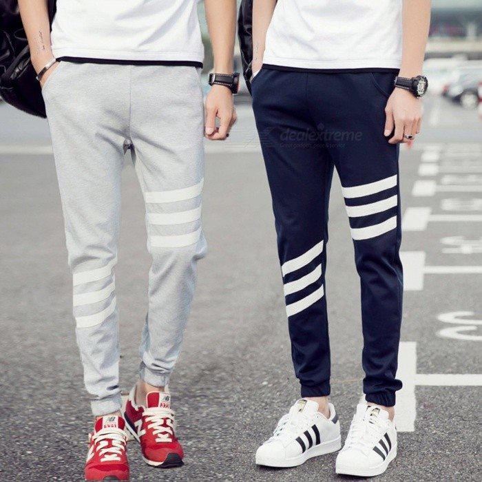 Men\'s Fashion Trend Pants Elastic Waist Striped Trousers Sport Slim Beam Foot Casual Stretch Pants Black/M