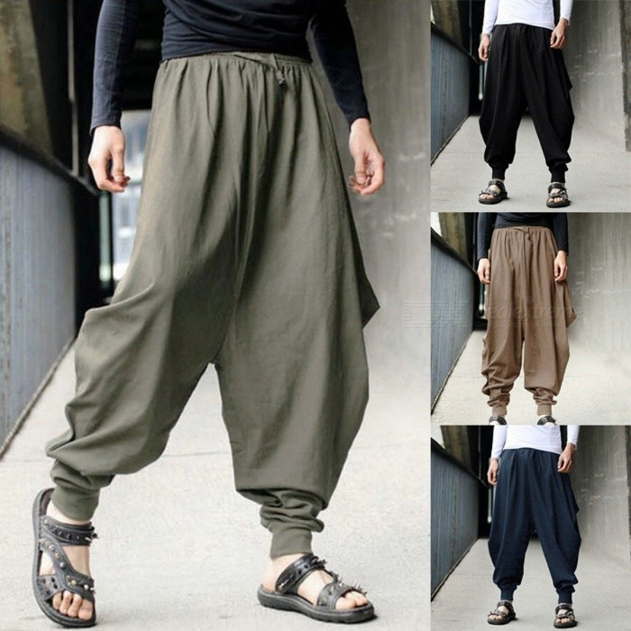 Summer New Men's Retro Casual Harem Pants Cool Elastic Waist Culottes Wide Legs Loose Low Cross Pants Black/M