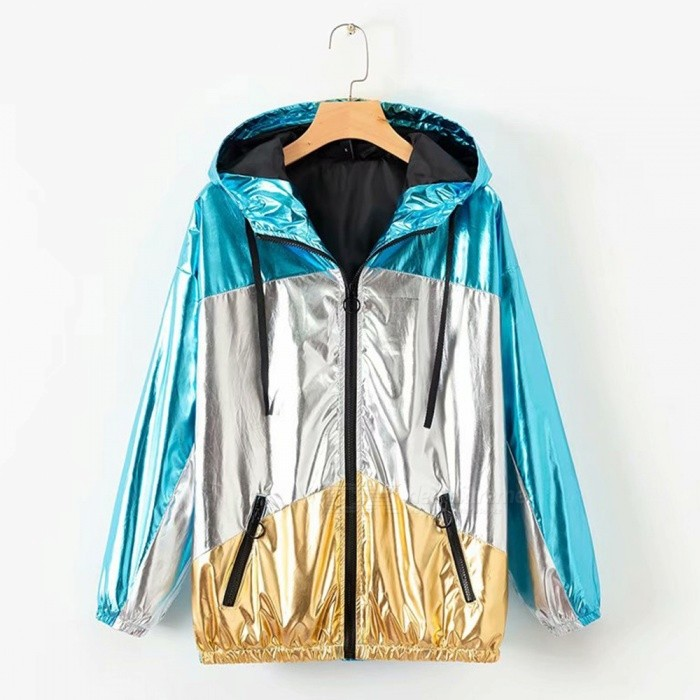 Autumn Spring New Women's Hooded Jackets Patchwork Glossy Zipper Loose Coats With Pockets Multi/S