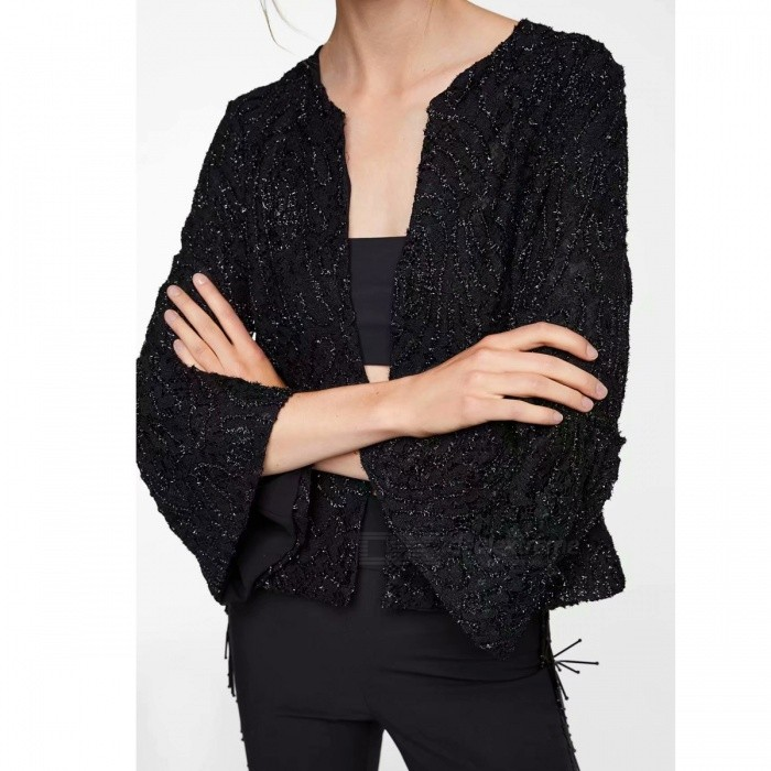 Elegant Luxury Designer Lurex Lace Three Quarter Flare Sleeve Jackets Round Neck Coats With Covered Button For Women Black/S