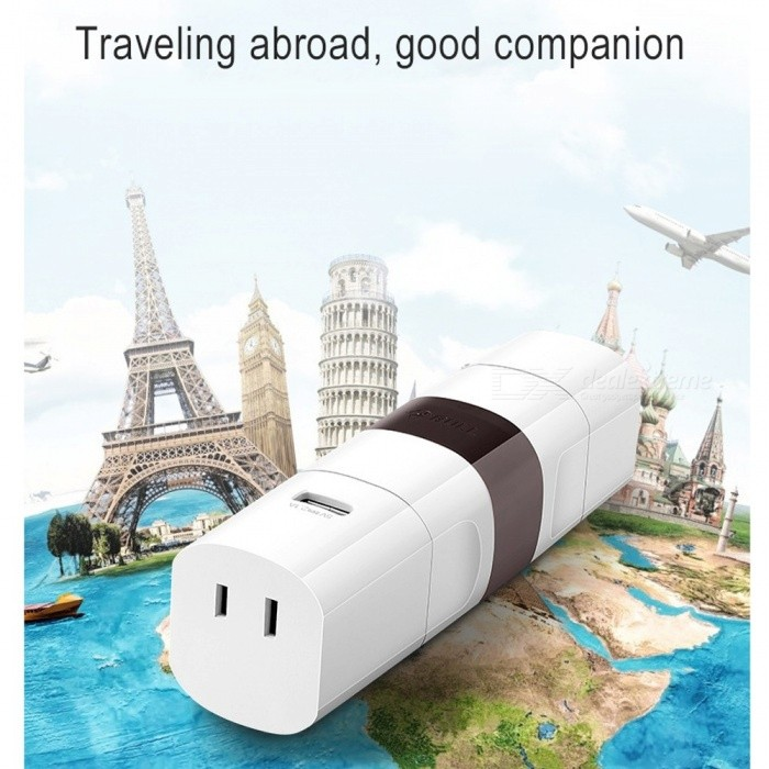 Multifunction International Plug Adaptor USB Portable Travel Electrical Socket Universal Plug/White
