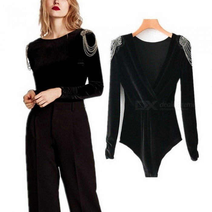 Autumn Long Sleeve Sexy Velvet Tassel Bodysuits Elegant Back V Neck Jumpsuits Leotard Women\'s Clothing Black/S