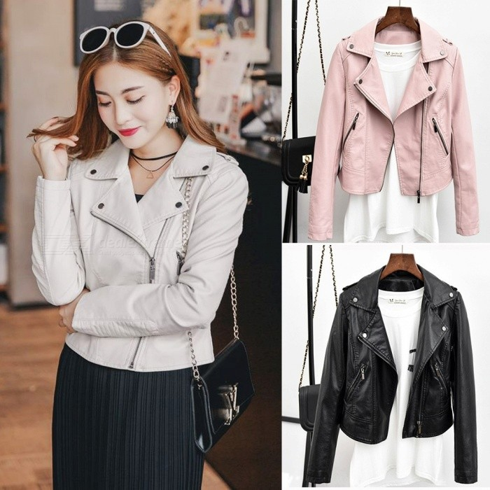 New Spring Autumn Women Moto Zipper Solid Color Slim Coats PU Leather Jackets With Pockets Beige/S