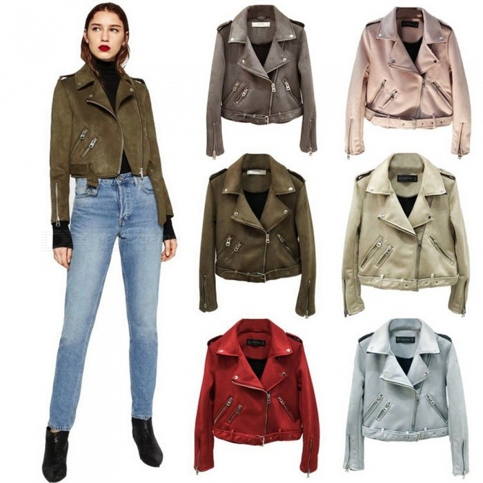 Suede Solid Color Leather Jackets Slim Short Fashion Zipper Deerskin Coats For Women\'s Clothing Beige/S
