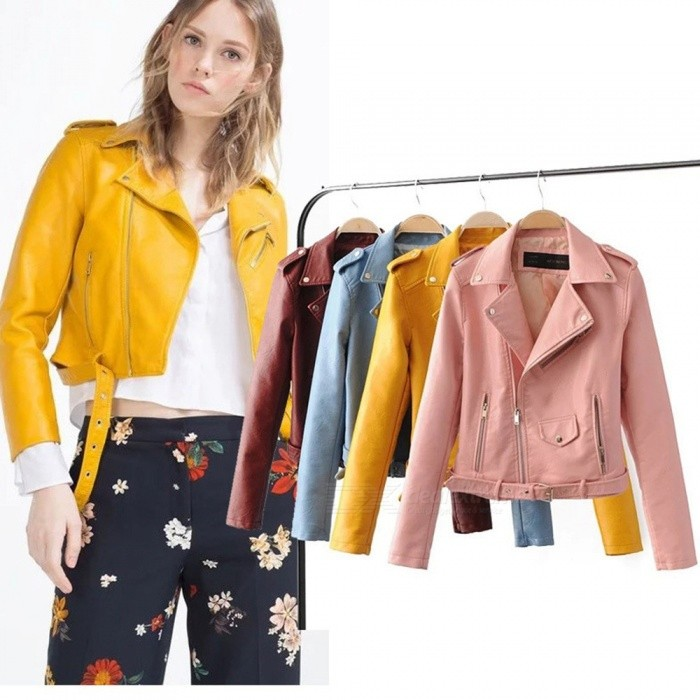 New Autumn Women Moto Biker Zipper Rivet Solid Color Slim Coats PU Leather Jackets With Pockets Black/S