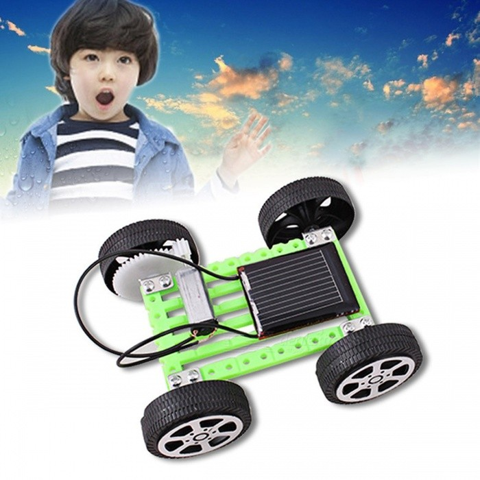 1 Set Mini Solar Powered Car Toy DIY ABS Kit, Children Educational Funny Gadget Hobby Gift For Kids Green