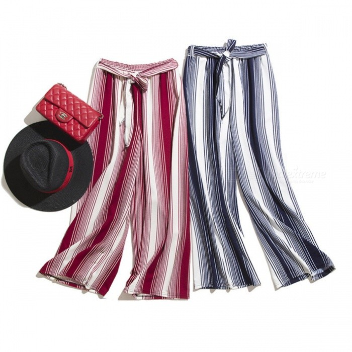 Casual Loose Striped Pattern Elastic High Waist Bowknot Wide Leg Pants, Ninth Pants For Lady Girls Light Blue/One Size