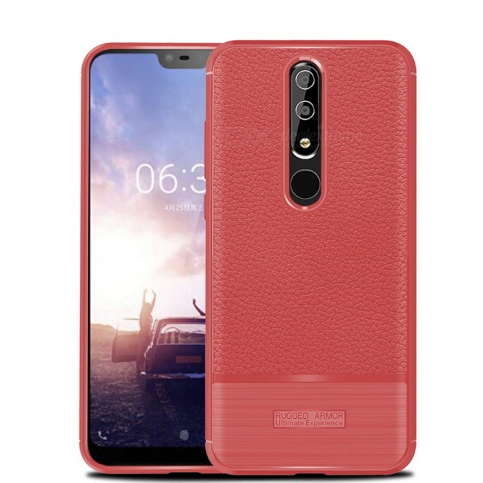 Naxtop Soft TPU Lychee Pattern Slim Light Phone Case, Shock Resistant Non-Slip Anti-Scratch Case for Nokia 6.1 Plus / X6