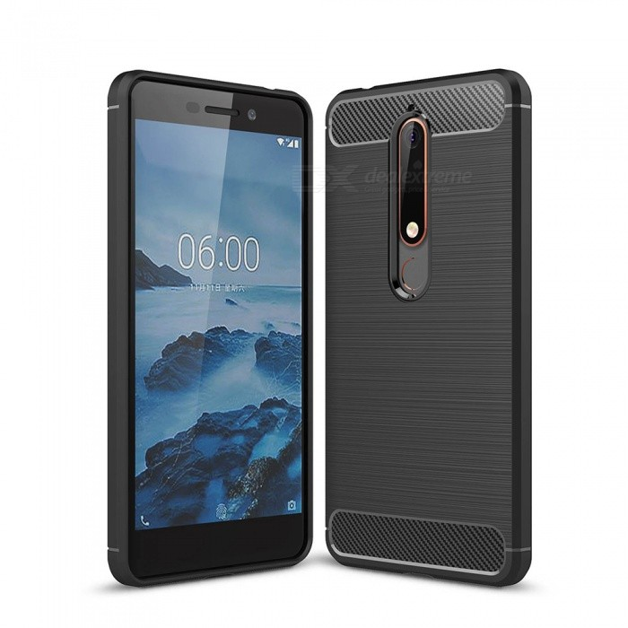 Naxtop Carbon Fiber Brushed Soft TPU Phone Case, Shock Resistant Non-Slip Anti-Scratch Anti-Fingerprint Case for Nokia 6.1