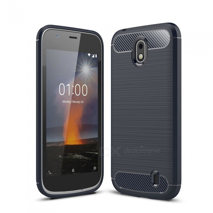 Naxtop Carbon Fiber Brushed Soft TPU Phone Case, Shock Resistant Non-Slip Anti-Scratch Anti-Fingerprint Case for Nokia 1