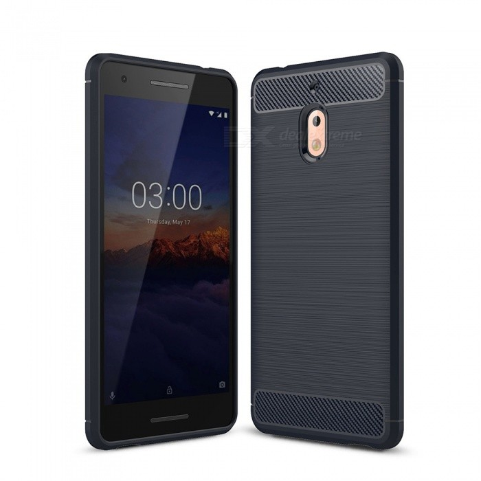 Naxtop Carbon Fiber Brushed Soft TPU Phone Case, Shock Resistant Non-Slip Anti-Scratch Anti-Fingerprint Case for Nokia 2.1