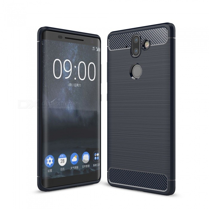 Naxtop Carbon Fiber Brushed Soft TPU Phone Case Shock Resistant Non-Slip Anti-Scratch Anti-Fingerprint Case for Nokia 8 Sirocco