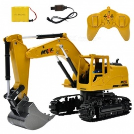 ESAMACT 2.4G 1:24 Remote Control Excavator Vehicle, 8 Channels Metal Charging Model Toy  RC Truck w/ LED Light, Simulation Sound