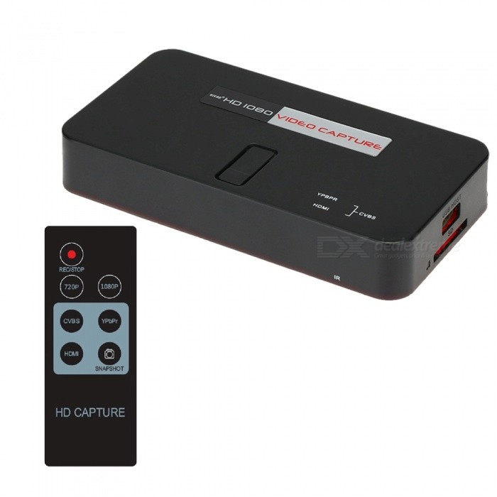 1080P HD Game Video Capture HDMI AV Ypbpr Rec Voiceover To USB U Disk SD MIC Real-time Recorder