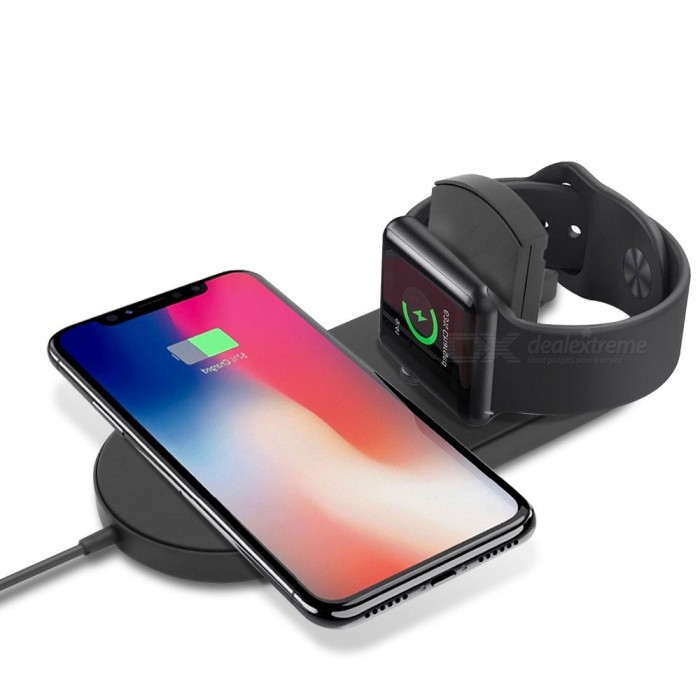 Cwxuan 2-in-1 Wireless Fast Charger for Apple Watch Series 4/3/2/ IPHONE X/8/8 Plus Samsung Galaxy S8/S9/Plus/Note 8 Note9 /S7