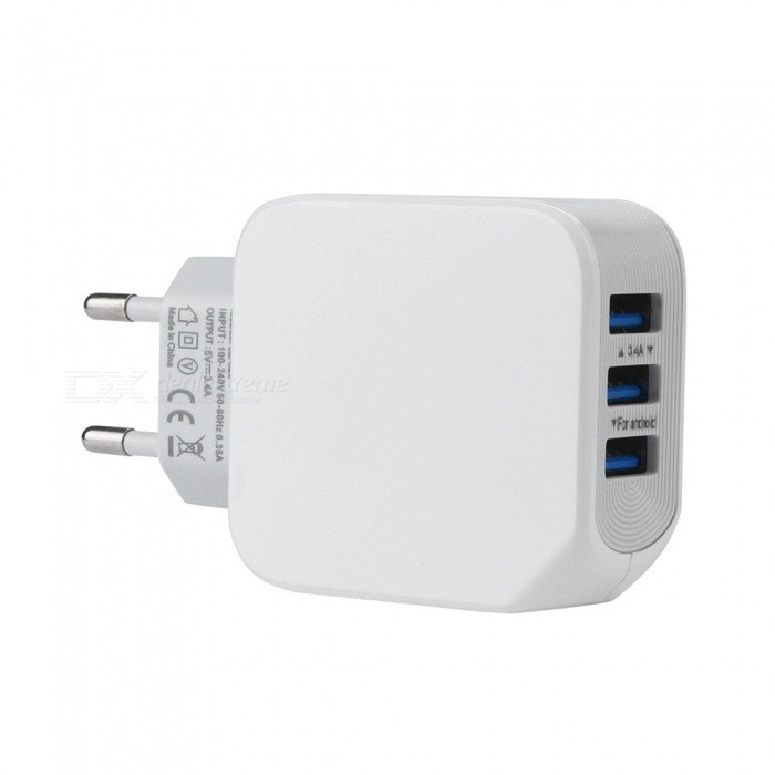 5V/3.4A 3-Port USB Wall Charger Adapter Fast Charger for iPhone / Xiaomi / Huawei / Samsung