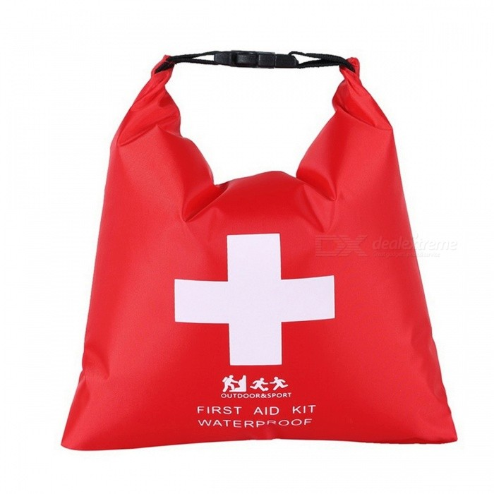 1.2L Waterproof Roll-top First Aid Kit Bag For Outdoor Camping Portable Buckle Emergence Kit Case For River Tracing Red/L