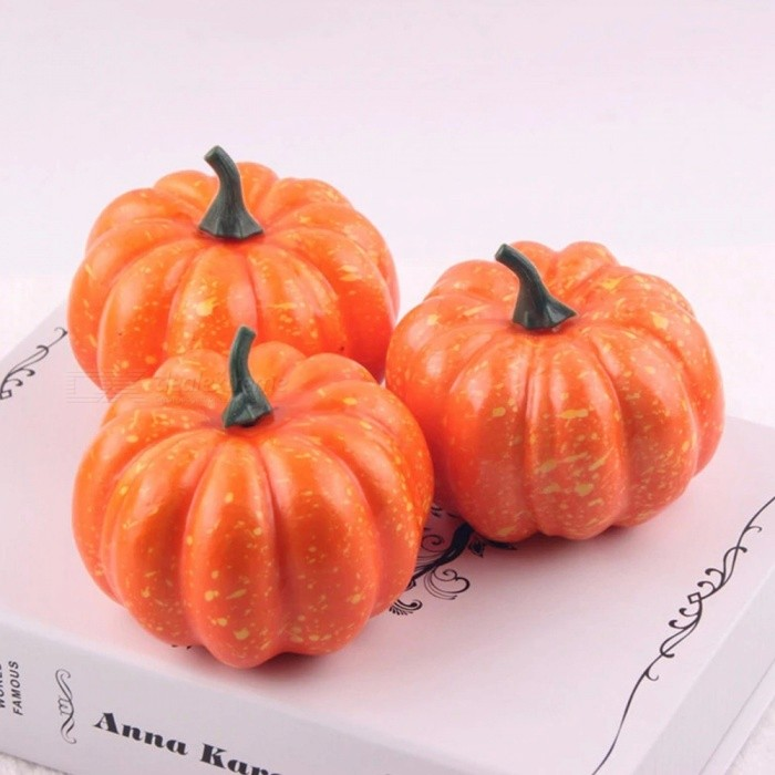Realistic Fall Mini Artificial Pumpkin, 8.5cm Small Foam Pumpkin, Fake Foam Halloween Decorative Pumpkins M/Orange