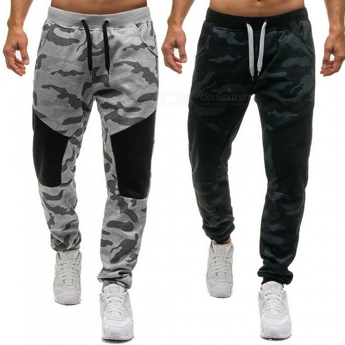 Mens Casual Cotton Pants With Camouflage Pattern Mid Rise Drawstring Camouflage Trousers Men Elastic Waist Pants Black/M