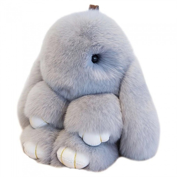 Fashion Genuine Rex Rabbit Furs Keychain Pendant Bag Car Charm Tag, 13cm Fluffy Bunny Rabbit Toy Doll Keychain Light Grey