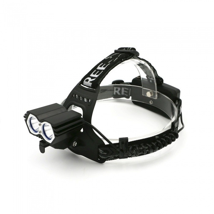 Portable CREE XPE Dual Head Waterproof Super Bright Bike Headlamp Head Light For Outdoor Lighting White/Black