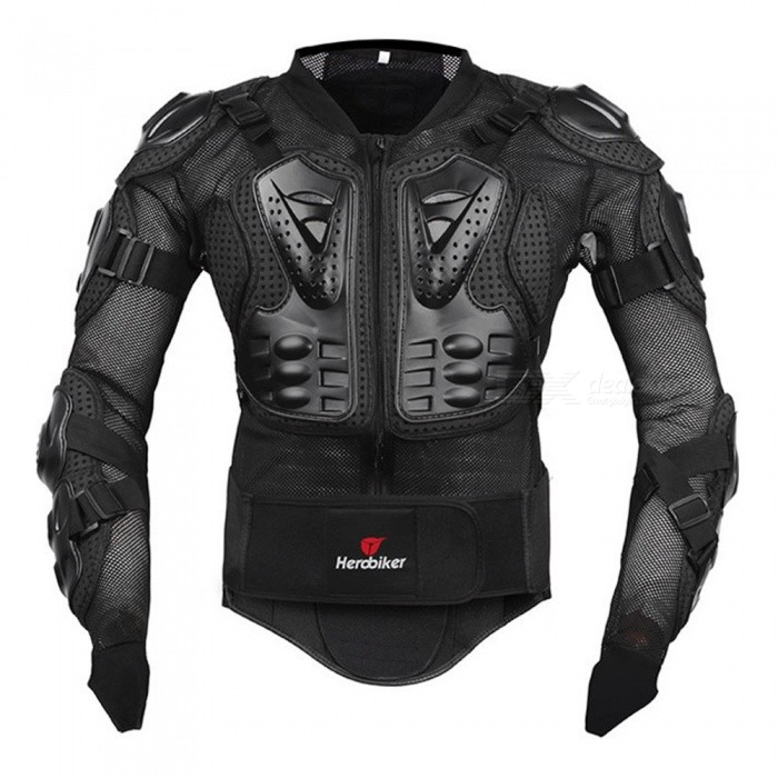 HEROBIKER Motorcycle Jacket Protective Gear, Motocross Gear Armor Body Chest Motor Rider Racing Jacket Black/M