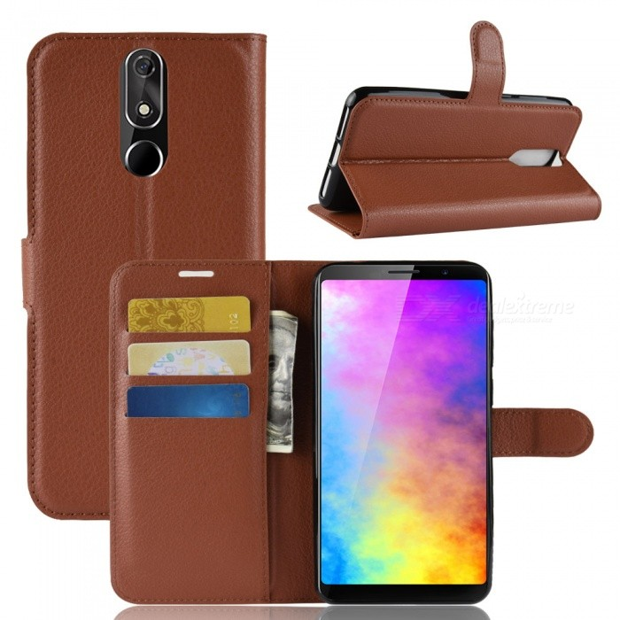 PU Leather Full Cover Wallet Phone Case with Holder Stand for Cubot Power - Brown