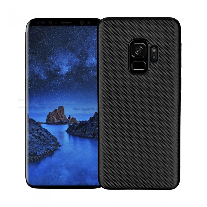 Protective Carbon Fiber TPU Ultra-thin Soft Case for Samsung Galaxy S9  - Black