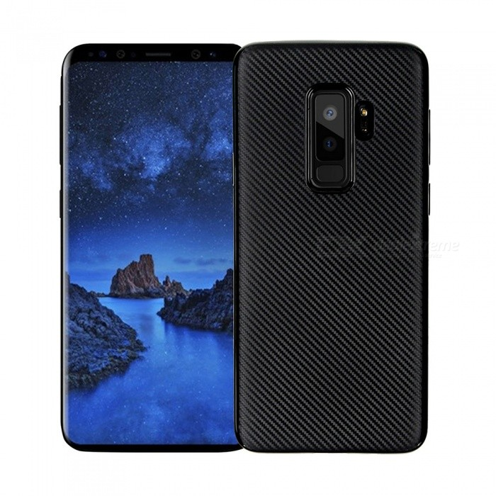 Protective Carbon Fiber TPU Ultra-thin Soft Case for Samsung Galaxy S9 Plus - Black