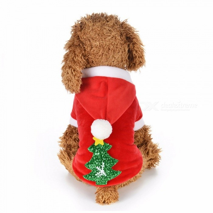 Christmas Pet Dog Coat Velvet Autumn Winter Warm Jackets For Dogs New Year Snow Christmas Tree Perro Clothes Red/8