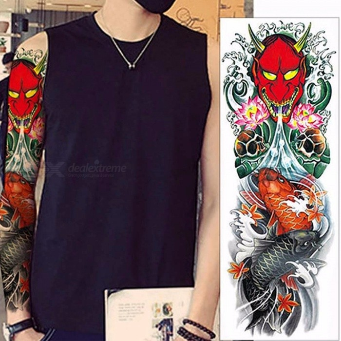 Waterproof Temporary Tattoo Sticker Army Full Body Art Arm Sleeve Body Art Large Tattoo Stickers Light Black