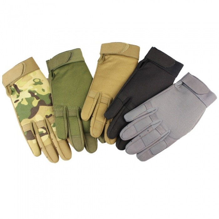 1 Pair Outdoor Cycling Full Finger Gloves Nylon Cotton Thick Warm Abrasion Resistant Gloves For Climbing Fitness Army Green/S
