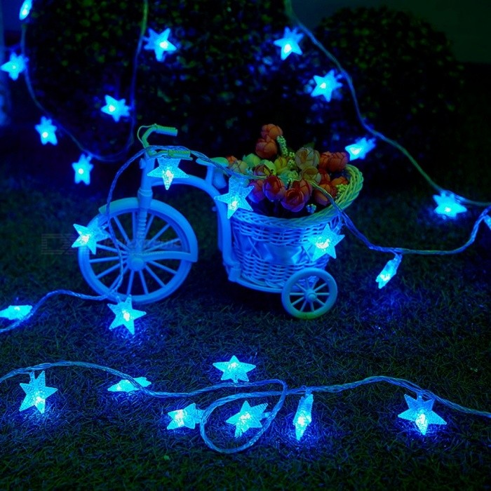1m Romantic Stars 10-LED String Lights For Bedroom Wedding Holiday Decoration Waterproof AA Battery Powered Light Blue/0-5W