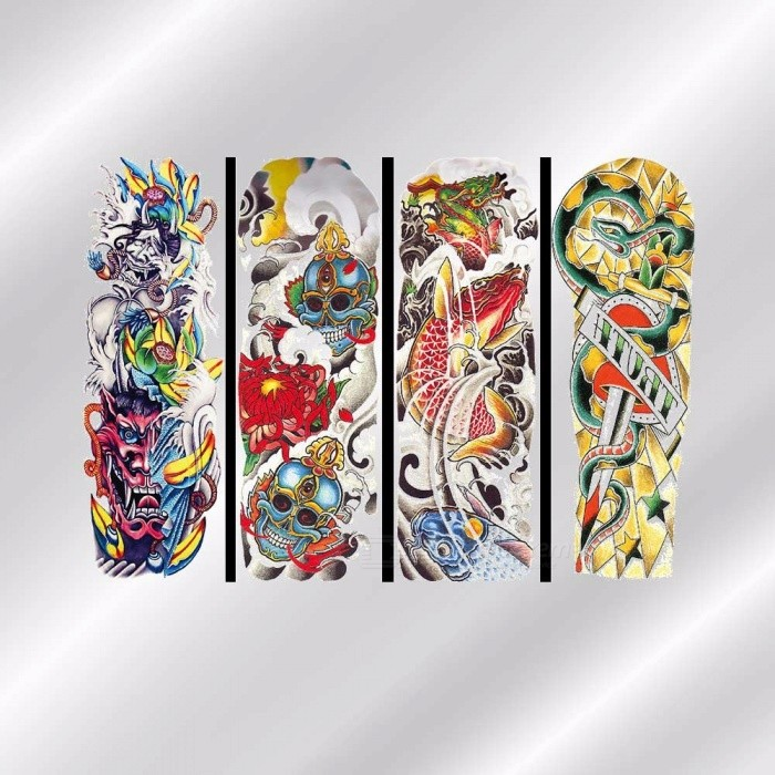 QB-3041~QB-3054 Waterproof Full Arm Body Temporary Tattoo Stickers Long Lasting For Men Women Light Grey