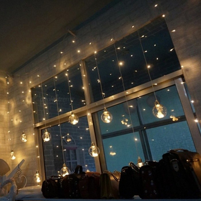 2.5M LED Crystal Wish Ball Fairy String Curtain Light Indoor Outdoor Xmas Party Garden Festival Decoration Lights Blue/0-5W