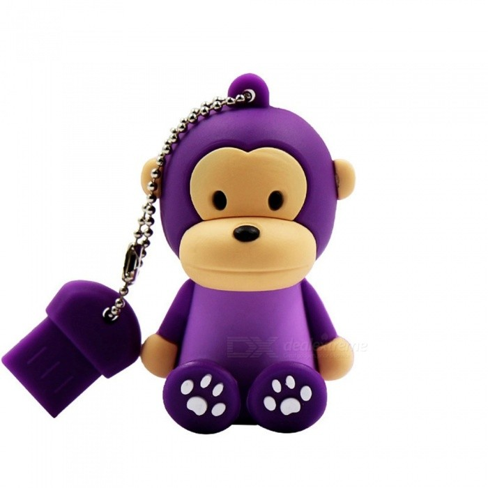 Cute Monkey Style USB 2.0 Flash Drive Mini Portable Silicone Memory Flash Disk With Keychain 4GB/Black