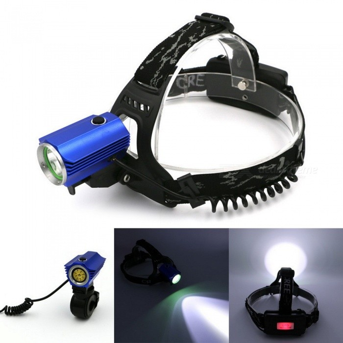 Outdoor Sports Waterproof XPE LED Headlight Headlamp Rechargeable Aluminum Alloy Bright Cyling Bike Light 3-Mode White/Blue