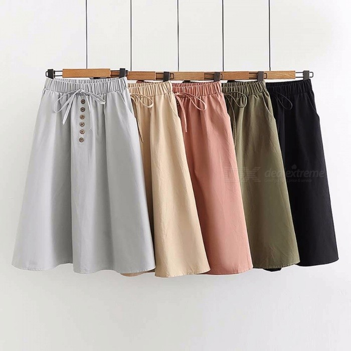 New College Pure Color Skirt Literature Students Elastic High Waist Loose Mid-length A-Line Button Bow Skirts For Women Beige/One Size