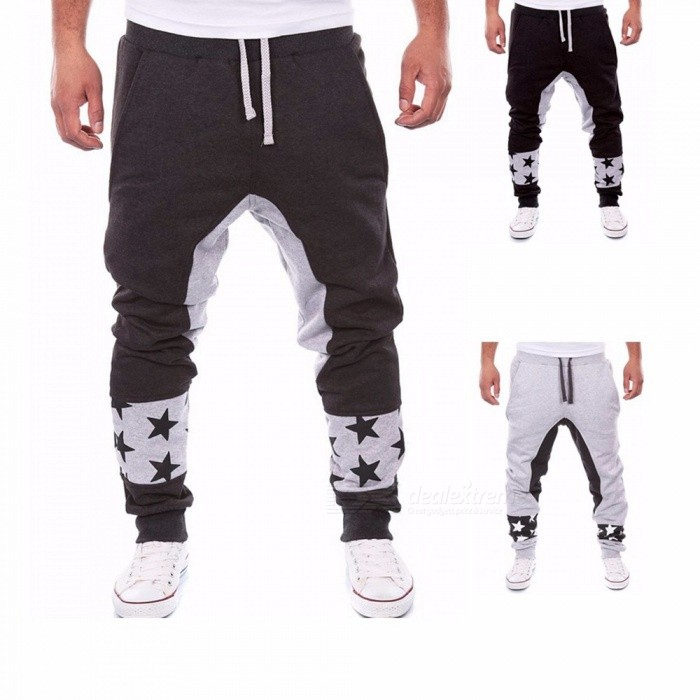 Stars Print Fashion Loose Mens Harem Pants Outdoor Sports Casual Elastic Waistband Cotton Saggy Pants For Men Black/M