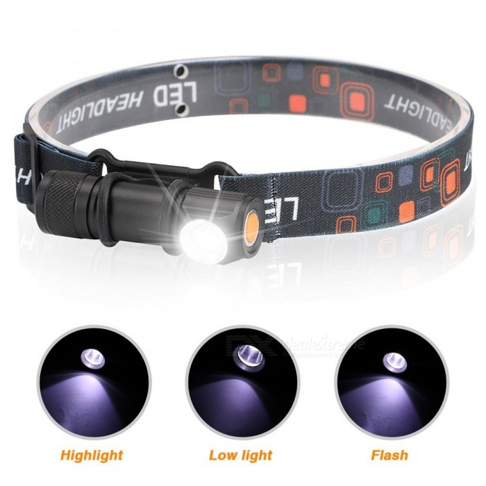 Portable Aluminum Alloy LED Headlamps USB Rechargeable Magnetic Strong Light Outdoor Waterproof Lighting White/Black