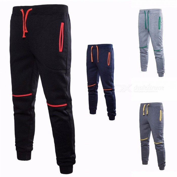 Autumn Winter Casual Sports Pants For Men Cotton Elastic Drawstring Waist Long Pants Trousers Black/M