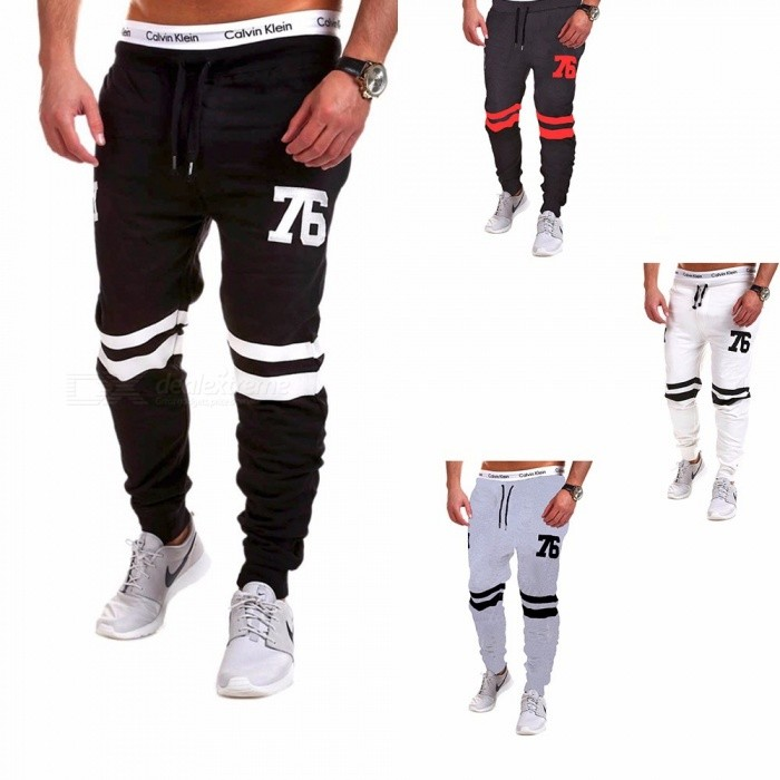 Digital Numbers Letters Print Elastic Drawstring Waist Mens Pants Cotton Long Pants Trousers For Casual Sports Running Black/M